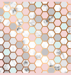 marble texture design with golden honeycomb vector image