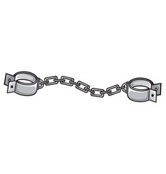 Metal shackles with chain vector