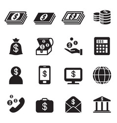 Money bank investment icons set vector