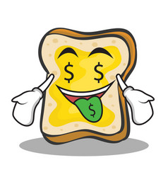 Money mouth face bread character cartoon vector