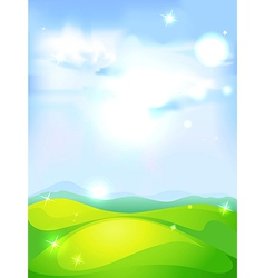 natural background with blue sky green meadow and vector image