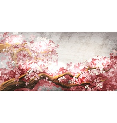 Sakura branch blooming vector