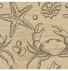Seamless pattern with starfish and crab vector image vector image