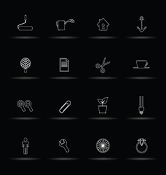 Set icon white line vector
