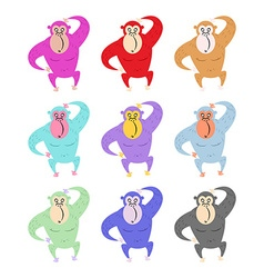 Set of colored monkeys Funny gorilla Cute primacy vector image