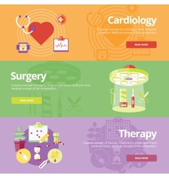 Set of flat design concepts for cardiology surgery vector