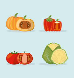 Set vegetables fresh food image vector