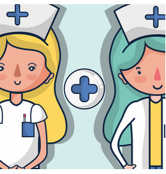Specialist nurses with cross signal vector