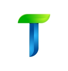 T letter leaves eco logo volume icon vector image