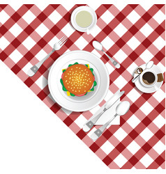 Table for lunch with hamburger set two vector