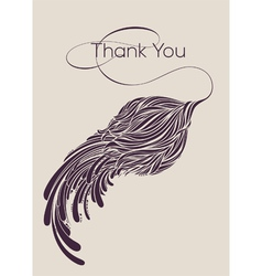 Thank you lettering with calligraphic flower vector