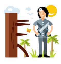 Wing chun kung fu girl with two swords vector