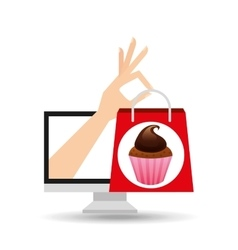 Shopping bag chocolate muffins vector