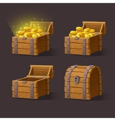 Wooden chest set for game interface vector