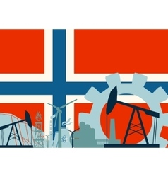 Energy and power icons set with norway flag vector