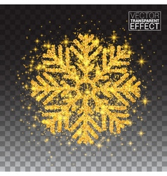 Shine golden snowflake covered with glitter on vector
