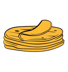 Stack of tortillas icon cartoon vector