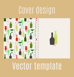 Cover design with bar drinks silhouette vector