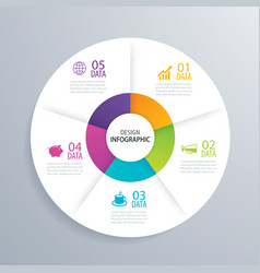 5 business circle infographic background template vector