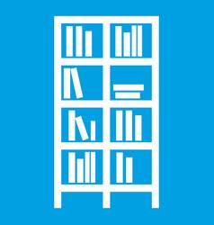 Bookcase icon white vector