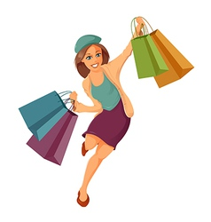 Woman is shopping vector