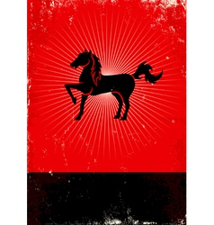 Horse red poster vector