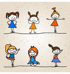 Hand drawing cartoon happy kids vector