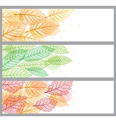 Banners with green and orange leaves vector