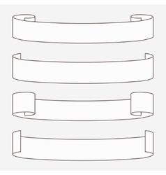 Set of white horizontal scrolls vector