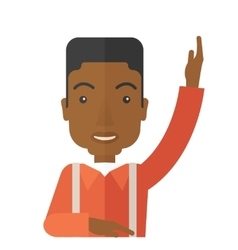 Black student raising his hand vector