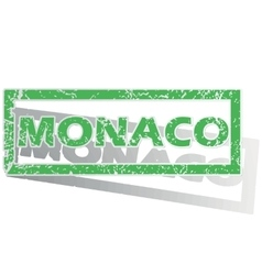 Green outlined monaco stamp vector