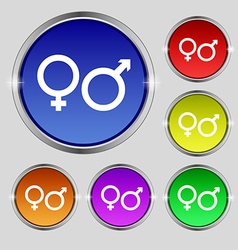 Male and female icon sign round symbol on bright vector