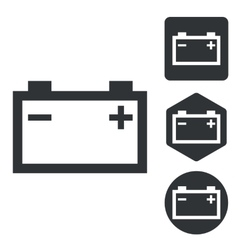 Accumulator icon set monochrome vector
