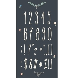 Hand drawn sketch numbers handwritten font vector