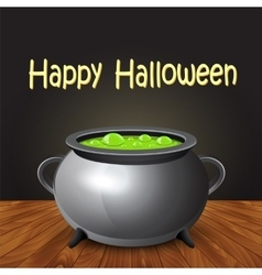 Happy halloween banner with witch cauldron boiling vector