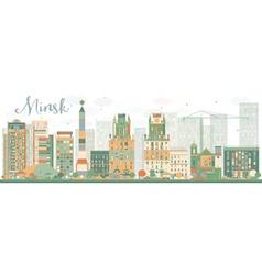 Abstract Minsk skyline with color buildings vector image