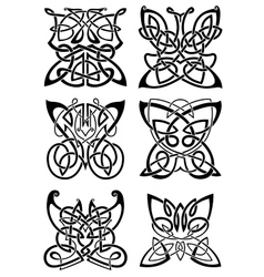 Celtic tattoos of black butterflies vector image