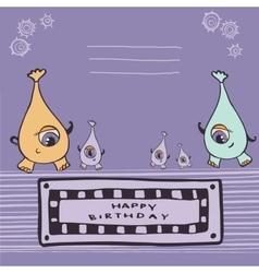 Pink monsters happy birthday vector image