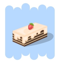 Chocolate cake icon with strawberry vector
