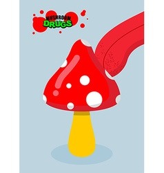 Drugs amanita acid fungus drug food tongue licking vector