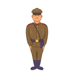 A man in army uniform icon cartoon style vector
