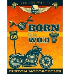 Colored motorcycle poster vector