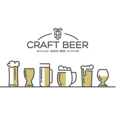 Beer glasses set collection vector