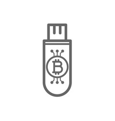 Bitcoin cryptocurrency in the cold storage flash vector