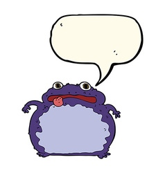 cartoon funny frog with speech bubble vector image vector image