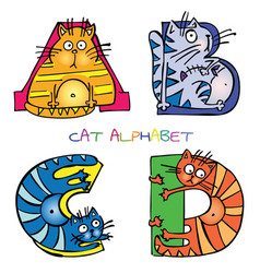 Cat alphabet a b c d vector