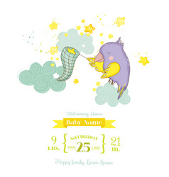 Cute parrot catching stars baby shower card vector