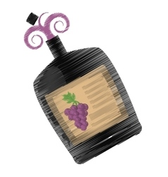 drawing big wine bottle liquid drink grape vector image