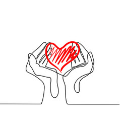 Hands holding a heart vector