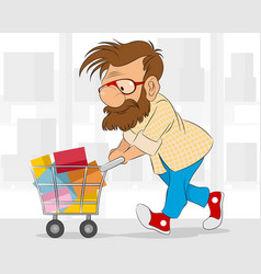 Hipster in shop vector